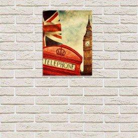 Placa Decorativa em MDF Vintage London Telephone