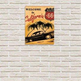 Placa Decorativa em MDF Vintage Welcome to California Route 66