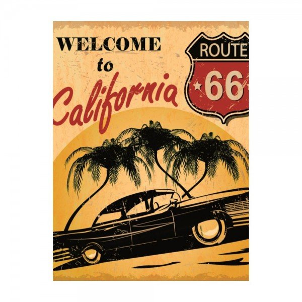 Placa Decorativa em MDF Vintage Welcome to California Route 66