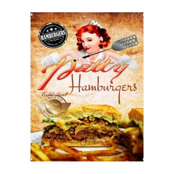 Placas Decorativas em MDF Patty Hamburgers Vintage