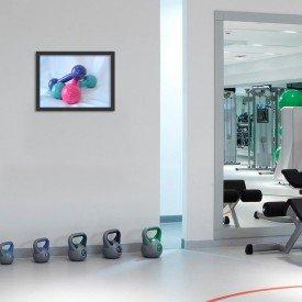 Quadro Decorativo Academia Pilates Halteres Coloridos Malhação