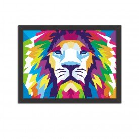 Quadro Decorativo Animal Leão Abstrato Colorido Moderno