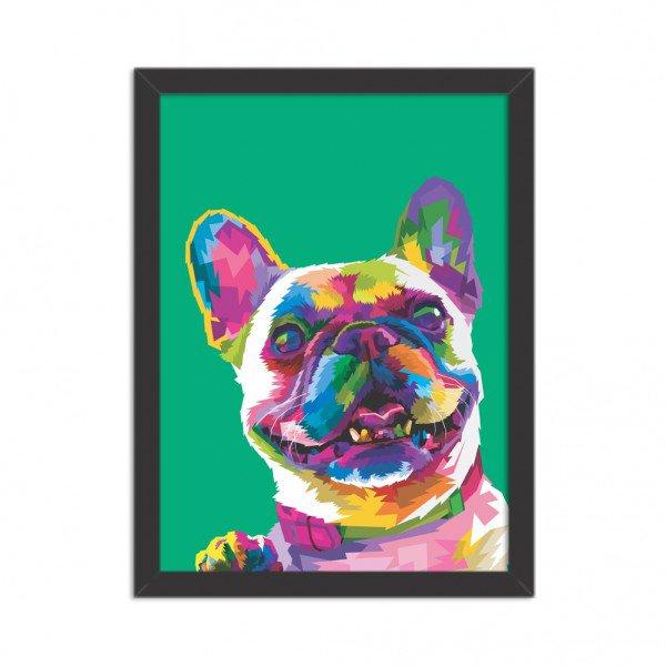 Quadro Decorativo Animal Meu Melhor Amigo Cachorro Abstrato Moderno Verde