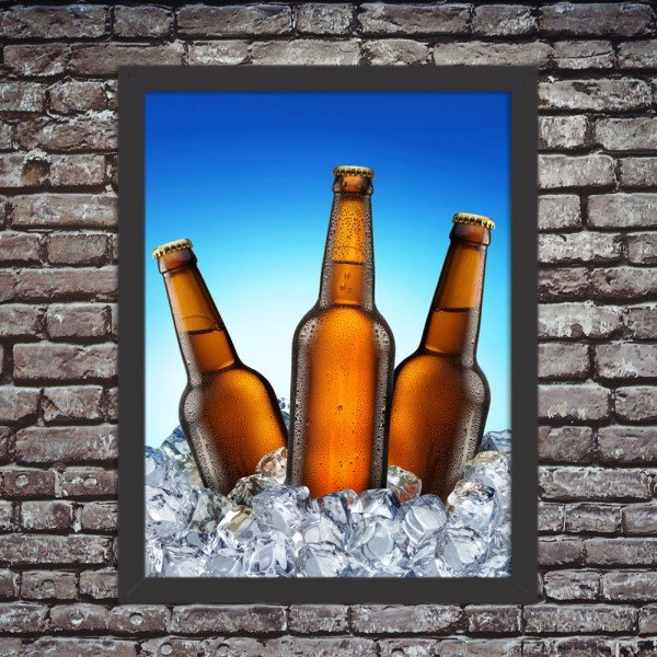 Quadro Decorativo Garagem Cervejas Litrão Geladas no Gelo
