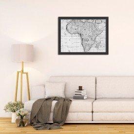 Quadro Decorativo Mapa Mundi Africa Preto e Branco
