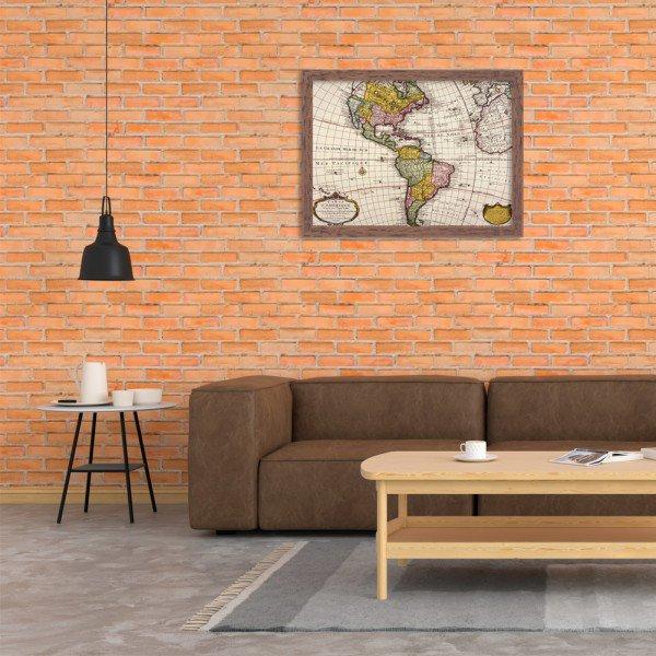 Quadro Decorativo Mapa Mundi America do Norte e America do Sul