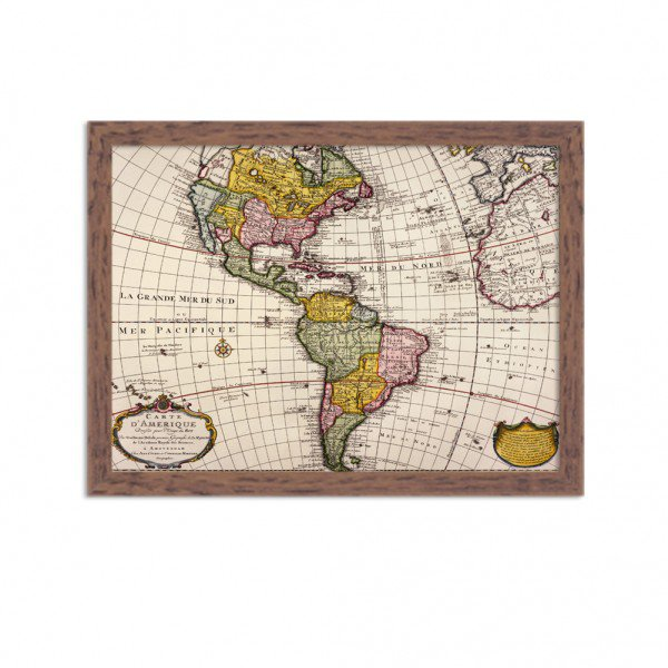 Quadro Decorativo Mapa Mundi America do Norte e America do Sul