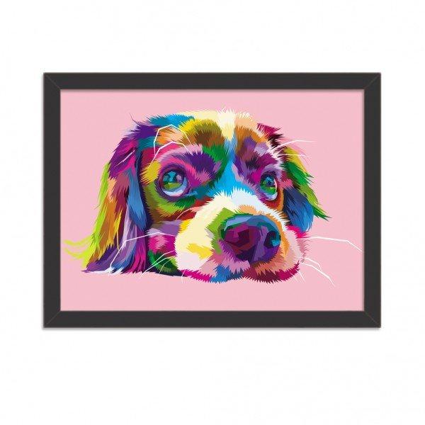 Quadro Decorativo Cachorro Fofo Abstrato Colorido