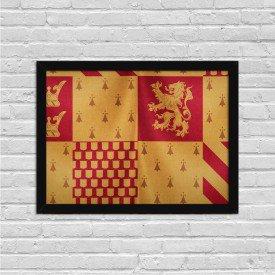 Quadro Decorativo Bandeira Grifinória Harry Potter