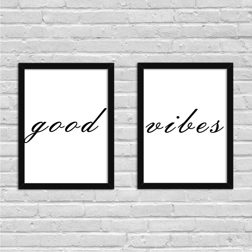 Quadros Decorativo Minimalista Good Vibes