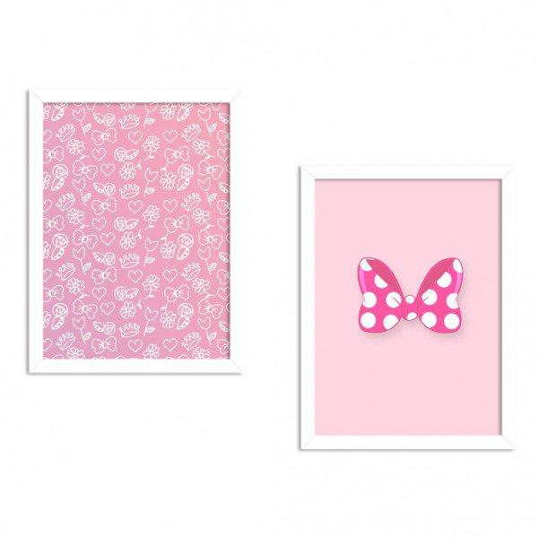 Kit 2 Quadros Decorativos Lacinhos Rosa