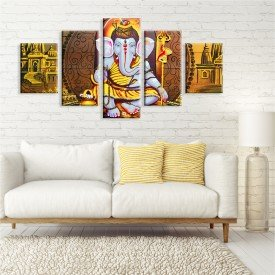 Kit 5 Telas Canvas Decorativas Ganesha Lord Ouro