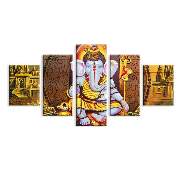 Kit 5 Telas Canvas Decorativas Ganesha Lord Ouro