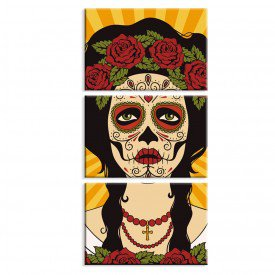 Kit 3 Telas Canvas Decorativas La Muerte es Bella