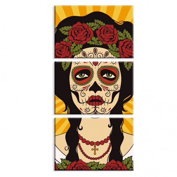 Kit 3 Telas Canvas Decorativas La Muerte es Bella