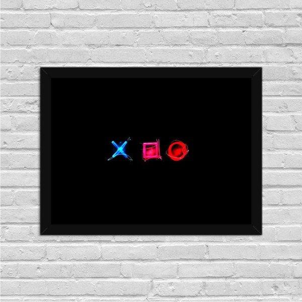 Quadro Decorativo Gamer Play Control X O