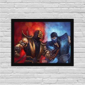 Quadro Decorativo Gamer Scorpion vs Sub Zero Mortal Kombat