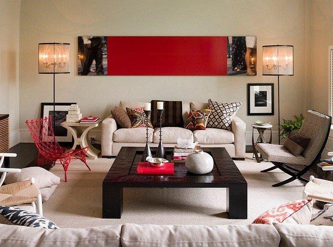 vermelho sala de estar