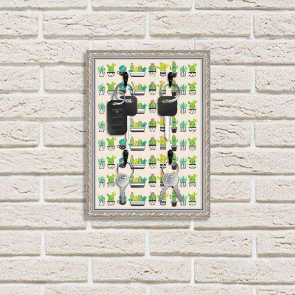 Porta Chaves Decorativos Estampados Luxo Cactos Verdes Fofos Prata