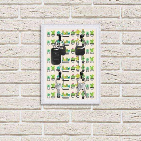 Porta Chaves Decorativos Estampados Luxo Cactos Verdes Fofos Branco