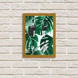 Porta Chaves Decorativos Estampados Luxo Folhas Verdes Dourado