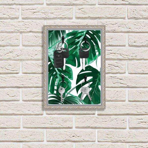 Porta Chaves Decorativos Estampados Luxo Folhas Verdes Prata