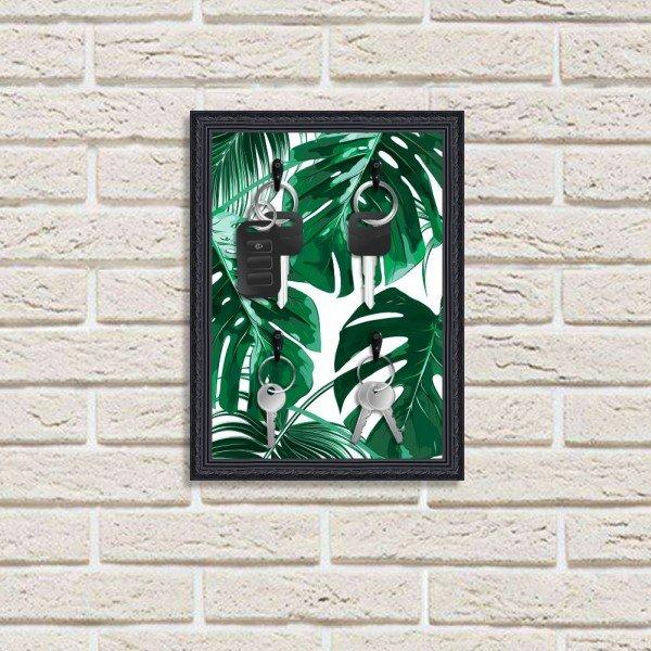 Porta Chaves Decorativos Estampados Luxo Folhas Verdes Preto