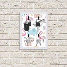 Porta Chaves Decorativo Estampado Luxo Infantil Animais Lindos Branco