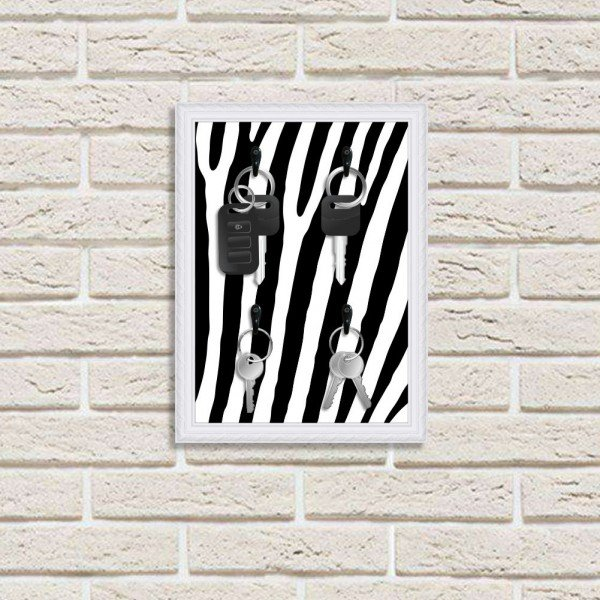 Porta Chaves Decorativo Estampado Luxo Listras Zebra Branco