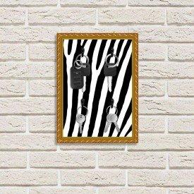 Porta Chaves Decorativo Estampado Luxo Listras Zebra Dourado