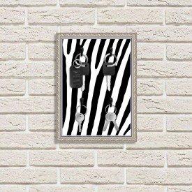 Porta Chaves Decorativo Estampado Luxo Listras Zebra Prata