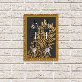 Porta Chaves Decorativo Estampado Luxo Abacaxi Durado Dourado