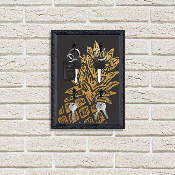 Porta Chaves Decorativo Estampado Luxo Abacaxi Dourado Preto