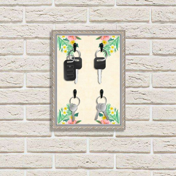 Porta Chaves Decorativo Estampado Luxo Floral Tropical Prata