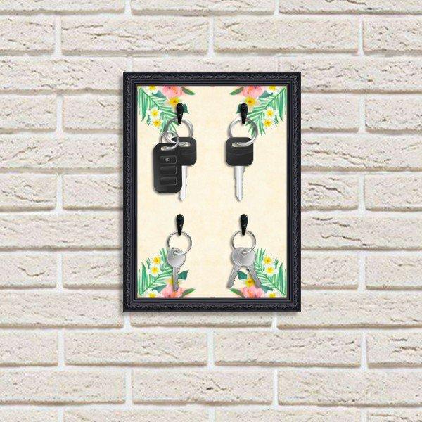 Porta Chaves Decorativo Estampado Luxo Floral Tropical Preto