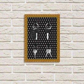 Porta Chaves Decorativo Estampado Luxo Preto Pontilhado Branco Dourado
