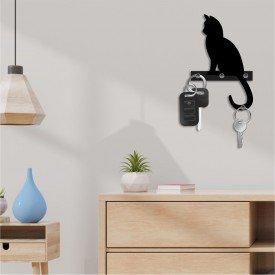 Porta Chaves Decorativo em MDF Gato Companheiro