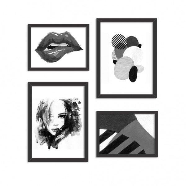Conjunto de 4 Quadros Decorativos Premium Beauty Girl Black and White