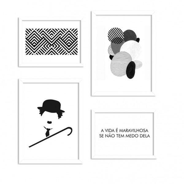 Conjunto de 4 Quadros Decorativos Premium Black and White Chaplin