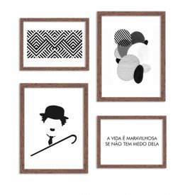Conjunto de 4 Quadros Decorativos Premium Black and White Chaplin