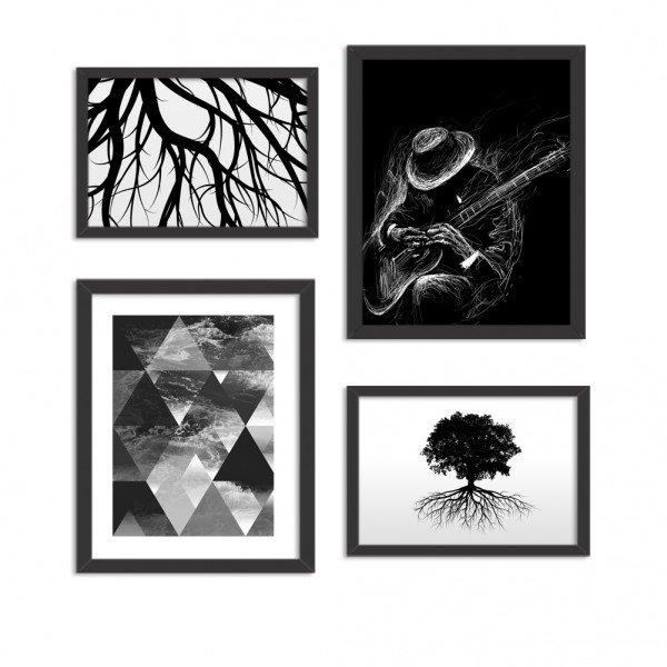 Conjunto de 4 Quadros Decorativos Premium Dark Country Guitar