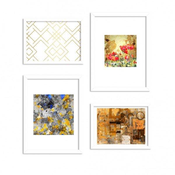 Conjunto de 4 Quadros Decorativos Dourado Abstrato Moderno