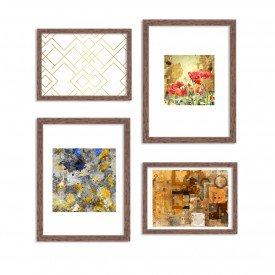 Conjunto de 4 Quadros Decorativos Premium Dourado Abstrato Moderno