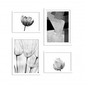 Conjunto de 4 Quadros Decorativos Premium Lotus Black and White