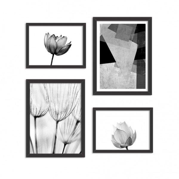 Conjunto de 4 Quadros Decorativos Premium Lotus Black and White