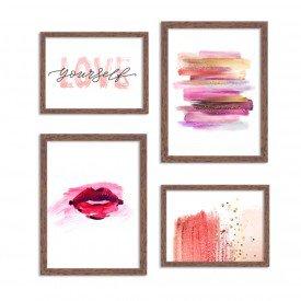 Conjunto de 4 Quadros Decorativos Premium Red Brush Abstrato