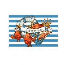Placa Decorativa em MDF Praia Azul Retro Mar