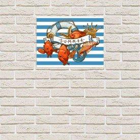 Placa Decorativa em MDF Praia Azul Retro Mar 20x30