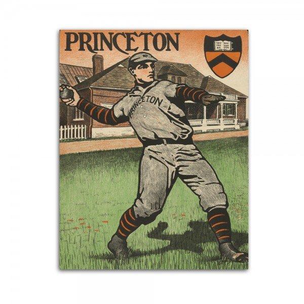 Placa Decorativa em MDF Princeton Baseball Retro 20x30