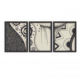 Kit 3 Quadros Decorativos Etnico Preto e Branco